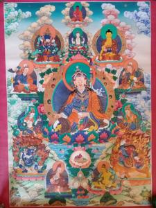 Rare Thanka 8 manifestacion Guru Padmasambhava with silk embroidery