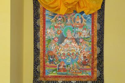 Rare Big Thanka 8 manifestacion Guru Padmasambhava with silk Embroidery-