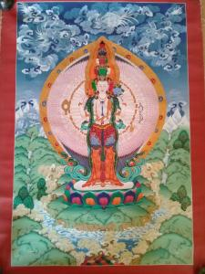 Rare Masterpiece Thanka 1000 Hands Avalokiteśvara Thangka with Silk Embroidery
