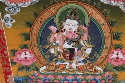 Yab Yum Vajrasatva Thangka with Silk Embroidery-120*80 cm